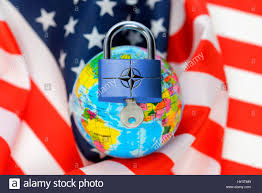 Flags American Globe With Closed Padlock With Nato Symbol On A Usa Flag American