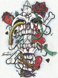 skull snake dagger hearts and roses by plyink on deviantart