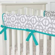 mod lattice crib bedding set in teal and gray by caden lane