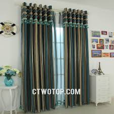 Blue Striped Curtains Oriental Stylish Living Room Teal Beige Dark Blue Striped Curtains
