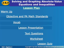 solving and graphing absolute value equations and inequalities 2 8