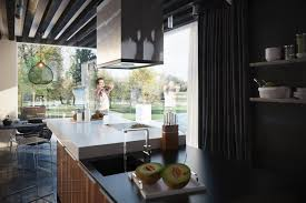 modern kitchen chimney kitchen black wooden beam ceiling also recessed downlights plus