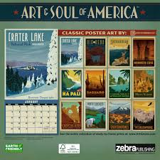 Classic Designer Wall Lettering National Parks Classic Posters 2017 Wall Calendar Anderson Design