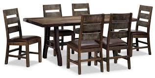 Pine Dining Room Chairs Urban Splendor 7 Piece Dining Room Set Rustic Pine Leon U0027s