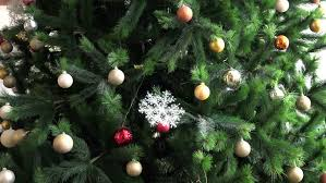 red ball close up hanging on the christmas tree christmas song