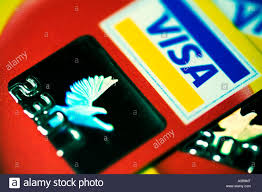 visa credit cards showing security hologram stock photo royalty