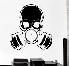 vinyl wall decal skull gas mask military art teen room stickers vinyl wall decal skull gas mask military art teen room stickers