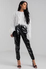 black fringe sweater sleeve fluffy cropped sweater in black blush white