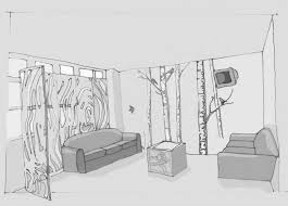 Interior Design Sketches by Tisha Barnes Designs Shade And Shadow Of Interior Corner Room This