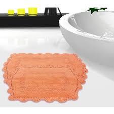 100 percent cotton reversible bath rug with crochet lace set of 2