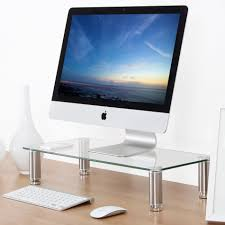 fitueyes clear computer monitor riser 4 7in high 23 6in save space