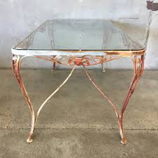 vintage iron patio table with tempered glass top u2013 urbanamericana