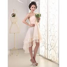 elegant strapless high low chiffon bridesmaid dresses lace short