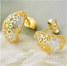 gold earring studs designs two tone hollow flower gold stud earring pes8 115 buy s925