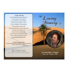 Funeral Program Sample Desert Single Fold Memorial Program Funeral Pamphlets