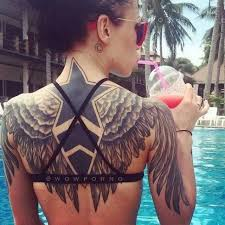 collection of 25 big wings tattoos on back