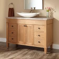 wood glass vessel sink bathroom vanity set w chrome faucet image