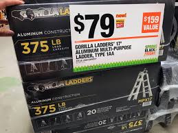 22 ft ladder home depot black friday sale gorilla ladders 17 u0027 telescoping multi position ladder only 79 00