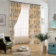Curtains Floral Beautiful Curtains Blue Floral Print Linen Cotton
