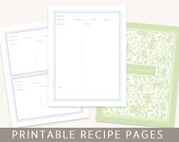 recipe binder set printable pages editable pdf instant