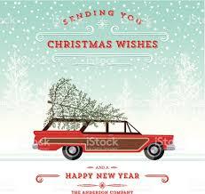 retro station wagon with tree christmas card stock vector art