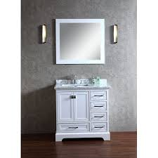 36 Inch Bathroom Vanity With Drawers by Newport White 36 Inch Single Sink Bathroom Vanity With Mirror