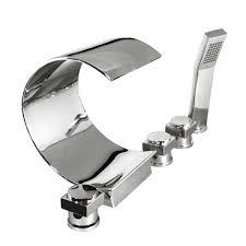 kokols 3 handle deck mount waterfall roman tub faucet in polished