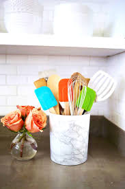 cabinets u0026 storages lovable this easy marble utensil holder diy