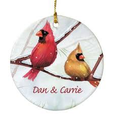 festive cardinal birds ornaments