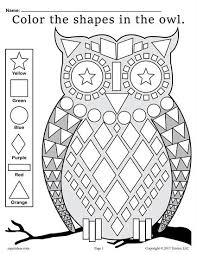 free fall themed owl shapes worksheet u0026 coloring page shapes