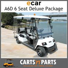 e car a6d 6 seat golf cart deluxe package folding tray rear seat