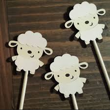 lamb baby shower lamb party lamb cupcake toppers lamb