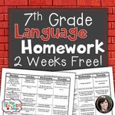 free 7th grade language homework common core aligned with