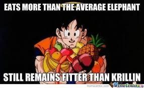 Krillin Meme - eats more than the average elephant still remains fitter than
