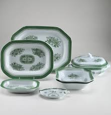 copeland spode fitzhugh green china serving set ebth