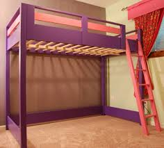 purple lacquer pine wood loft bunk bed with pink ladder and