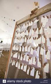 creative name place tags at country style wedding stock photo