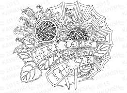 here comes the sun sunflowers coloring page gift wall