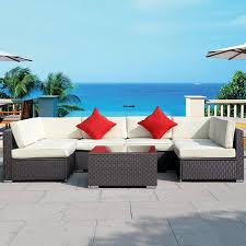Wicker Rattan Patio Furniture by 7 Pc Outdoor Patio Wicker Rattan Cushioned Sofa Outdoor