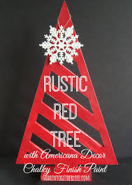 rustic red tree with americana decor chalky finish paint