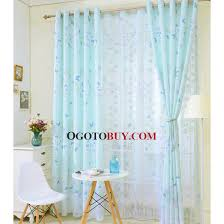 Blue Butterfly Curtains Printed Butterfly Cheap Kids Curtains In Light Green Polyester