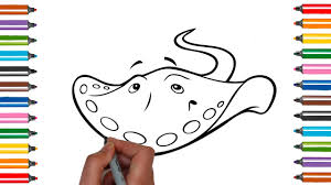 how to draw a stingray coloring pages for kid drawing and learn
