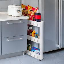 narrow storage cabinet for kitchen everyday home 3 tier white slim slide out pantry storage