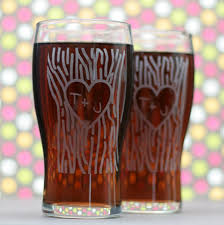wedding gift personalized custom engraved newlywed gift pilsner glass set with heart