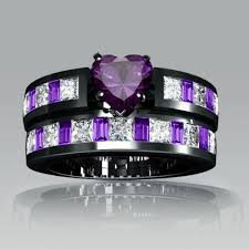 Amethyst Wedding Rings by Heart Cut Created Amethyst Wedding Set Amethysts Engagement And