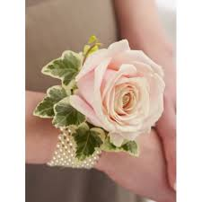 pink corsage soft pink and pearl wrist corsage