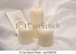 communion candles holy communion candles and prayer book holy stock