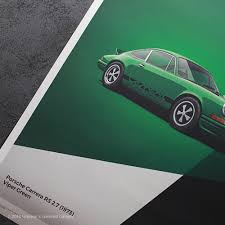 porsche 911 poster unique u0026 limited poster u2013 green porsche 911 carrera rs