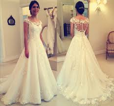 2017 lace applique beach wedding dresses capped sleeves buttons