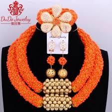 orange necklace sets images Delicate orange nigerian beads jewelry sets christmas necklace set jpg
